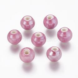 Pearlized MediumOrchid Handmade Porcelain Round Beads, 10mm, Hole: 2~3mm(X-PORC-D001-10mm-17)