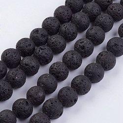 """Chapelets de perles de lave naturelle, rond, 10~10.5mm, trou: 1mm; environ 39 pcs/chapelet, 15.35""""(G-F436-10mm)"""