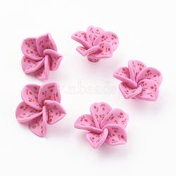 Cabochons en argile polymère, fleur, hotpink, taille: environ 25mm de diamètre, épaisseur de 7mm(X-CLAY-R366)
