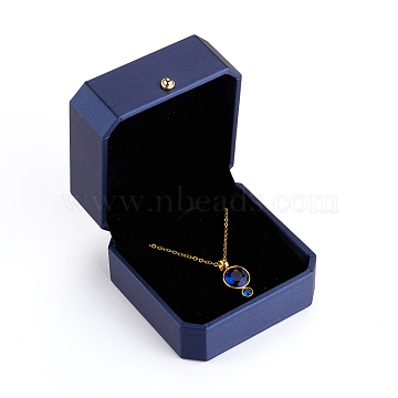 PU Leather Necklace Gift Boxes, with Golden Plated Iron Button and Velvet Inside, for Wedding, Jewelry Storage Case, Blue, 7.1x7.1x4.9cm(LBOX-L005-D01)