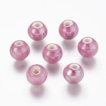 10mm MediumOrchid Round Porcelain Beads