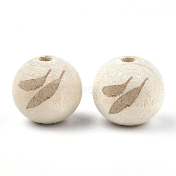 Natural Wood European Beads, Large Hole Beads, Round with Feather, PapayaWhip, 20x18mm, Hole: 4mm(WOOD-T012-20)