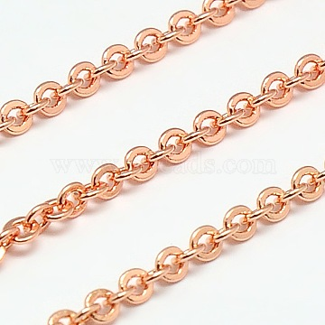Electroplate Brass Cable Chains, Soldered, Flat Oval, Rose Gold, 3x2.5x0.5mm(X-CHC-L019-73RG)