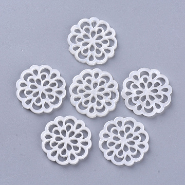 Cellulose Acetate(Resin) Filigree Joiners, Flower, Creamy White, 24x2.5mm(X-KY-N006-08B)