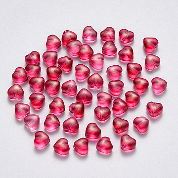 Transparent Spray Painted Glass Beads, with Glitter Powder, Heart, Cerise, 6x6x4mm, Hole: 0.7mm(X-GLAA-R211-02-B07)
