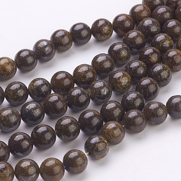 Natural Bronzite Beads Strands, Round, Coconut Brown, Size: about 8mm in diameter, hole: 1mm, 52pcs/strand, 15.7 inches(X-G-Q605-25)