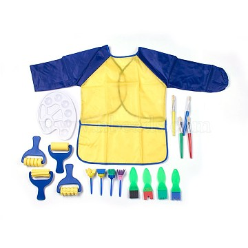Painting Tools Sets For Children, Sponge Paint Brushes, Watercolor Oil Paint Palette and Aprons, Random Single Color or Random Mixed Color, 18pcs/set(AJEW-L072-11)