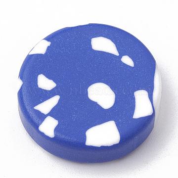 Handmade Polymer Clay Cabochons, Flat Round, Royal Blue, 19~23x5~6mm(CLAY-N001-02B)