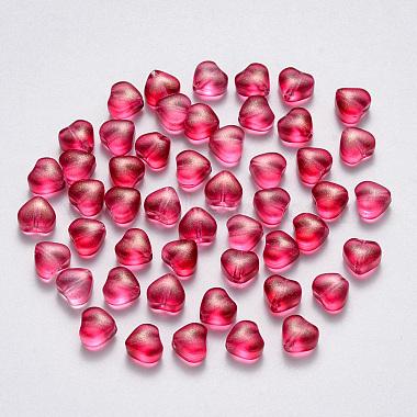 Cerise Heart Glass Beads