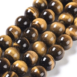 Natural Tiger Eye Round Bead Strands, Grade A+, 8mm, Hole: 1mm; about 50pcs/strand, 15.5inches