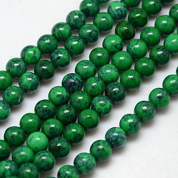 Synthetic Fossil Beads Strands, Dyed & Heated, Round, DarkGreen, 10mm, Hole: 1mm; about 38pcs/strand, 15.7inches(G-L028-10mm-08)