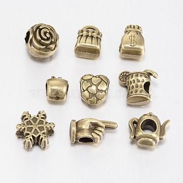 Mixed Shape Tibetan Style Alloy Large Hole European Beads, Antique Bronze, 11~16x8~13x7~8mm, Hole: 4.5~5mm, about 40pcs/100g(TIBEB-F040-03AB)