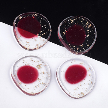 33mm Red Flat Round Resin Cabochons