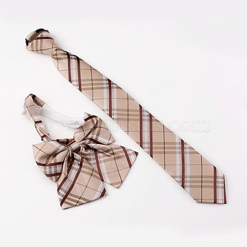 Preppy Style Women's Adjustable Polyester Bowknot Bow Tie and Zipper Neckties Set, with Elastic Cords and Plastic Clasps, Grid Pattern, Camel, 49cm; 40cm; 2pcs/set(AJEW-WH0113-29C)