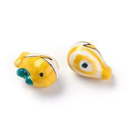 Perles de porcelaine imprimées manuelles, forme de baleine, or, 14~15x19~20x12~13mm, Trou: 1.6mm(PORC-E015-06A)