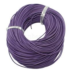 cordon de cuir de vachette , cordon en cuir de bijoux, bricolage bijoux matériau de fabrication, arrondir, teints, pourpre, 1.5 mm(X-LC-1.5MM-12)