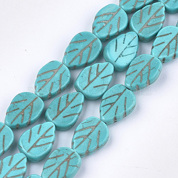 13mm Turquoise Leaf Synthetic Turquoise Beads