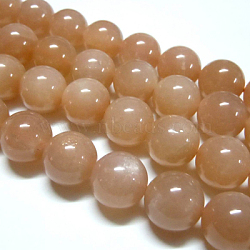 Natural Sunstone Beads Strands, Round, DarkSalmon, 12mm, Hole: 1mm