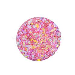 Cabochons en résine, imitation druzy agate, plat rond, de couleur plaquée ab , hotpink, 12x3mm(X-CRES-Q191-HA027-10)