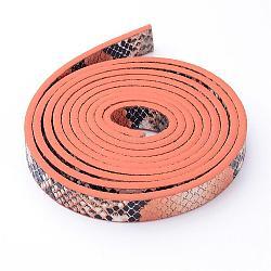 Cordon en cuir PU, peau de serpent imitation, orange foncé, 10x2 mm; environ 1.2 m / brin(X-LC-D005-08)