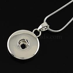 """18.8"""" платиновый оттенок модный оснастке ожерелье материалы, латунь ожерелье материалы, с конечными железными цепями, подходит для плоских кнопок круглых досрочных(X-NJEW-S100)"""