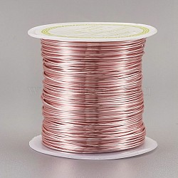 Copper Wire Copper Beading Wire, Long-Lasting Plated, Rose Gold, 20 Gauge, 0.8mm; 8m/roll(CWIR-F001-RG-0.8mm)