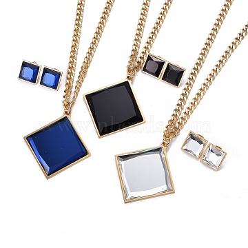 304 Stainless Steel Jeweley Sets, with Glass, Pendant Necklaces and Stud Earrings, Rhombus, Mixed Color, 17.3 inches(44cm); 18.2x18.2x5.6mm; Pin: 0.7mm(SJEW-E329-08)