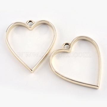 Rack Plating Alloy Heart Open Back Bezel Pendants, For DIY UV Resin, Epoxy Resin, Pressed Flower Jewelry, Cadmium Free & Nickel Free & Lead Free, Golden, 34x30.2x3.7mm, Hole: 3mm(X-PALLOY-S047-12E-FF)