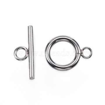 304 Stainless Steel Toggle Clasps, Stainless Steel Color, Ring: 16x12x2mm, Hole: 3mm, Bar: 18x7x2mm, Hole: 3mm(X-STAS-F040-40B-P)