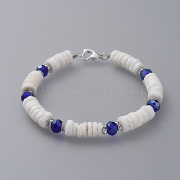 Heishi Beads Beaded Bracelets, with Glass Beads, Sea Shell Beads, Brass Grade A Rhinestone Spacer Beads and Zinc Alloy Lobster Claw Clasps, Blue, 7-1/4 inches(18.3cm)(BJEW-JB04747-01)