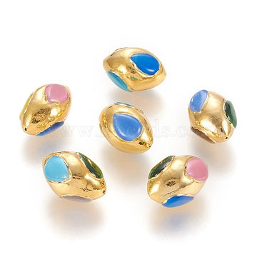 Brass Beads, with Cat Eye, Olive, Golden, Mixed Color, 28x18.5x17~18mm, Hole: 1mm(KK-P185-A01)