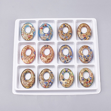 Handmade Gold Sand Lampwork Pendants, Inside Millefiori Glass, Oval, Mixed Color, 46~47x34x9.5mm, Hole: 19mm; Box Size: 20x19.5x1.3cm; about 12pcs/box(LAMP-S189-13-B)