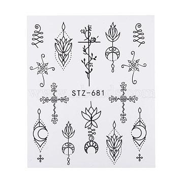 наклейки для ногтей, самоклеящийся, для украшения ногтей, черный, 6.3x5.2 cm(X-MRMJ-Q042-C31)