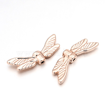Cadmium Free & Nickel Free & Lead Free Alloy Beads, Long-Lasting Plated, Wing, Rose Gold, 7x20x3mm, Hole: 1mm(PALLOY-E390-06RG-NR)