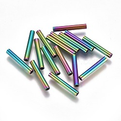 Perles de tube en 304 acier inoxydable, multicolore, 20x3mm, Trou: 2mm(STAS-F224-01M-F)