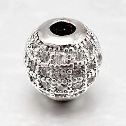 Круглые латунные микро проложить кубического циркония бусы, прозрачные, Реальная платина, 10 мм, отверстие : 2 мм(ZIRC-N016-01P-10mm)