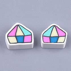 Cabochons en pâte polymère manuels, forme de diamant, colorées, 12~13x14~15x5mm(CLAY-S091-82)