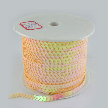 Lt.Orange With AB Color Paillette/Sequins Roll, 6mm in diameter, 100 yards/roll(X-BS20Y)