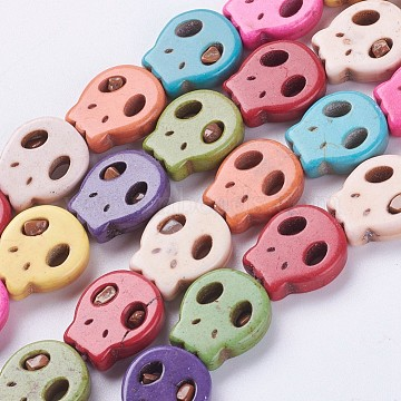 15mm Skull Synthetic Turquoise Beads