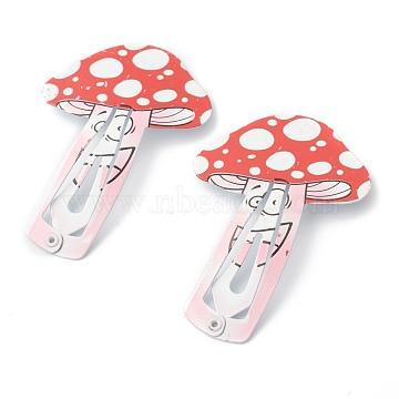 Baking Painted Stainless Iron Snap Hair Clips, for Children's Day, Mushroom, Red, 58x39.5x1.8mm(PHAR-B0002-09)