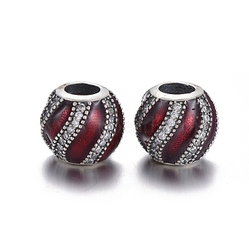 Thai Sterling Silver Plated 925 Sterling Silver European Beads, Large Hole Beads, with Cubic Zirconia and Enamel, Carved with 925, Round, Red, 10x9mm, Hole: 4.5mm(OPDL-L017-008B)