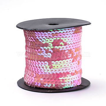 Hot Pink With AB Color Paillette/Sequin Roll, 6mm in diameter, 100 yards/roll(X-BS15Y)