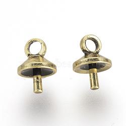 Soutiens-gorge tasse perle cheville bails broches pendentifs, pour la moitié de perles percées, Or antique, 7x5x5mm, trou: 1.5 mm; broches: 1 mm(X-KK-R071-10AG)