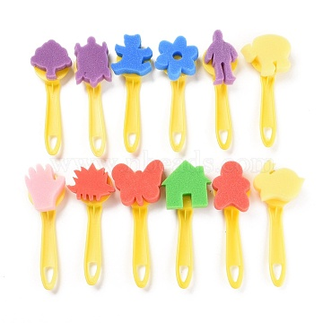 Kids Sponge Brush Painting Tools, with Plastic Handle, DIY Graffiti Drawing Toys, Mixed Shapes, Mixed Color, 150~160mm; Pattern: 10~37x6~37mm; 12pcs/set(AJEW-L083-03)