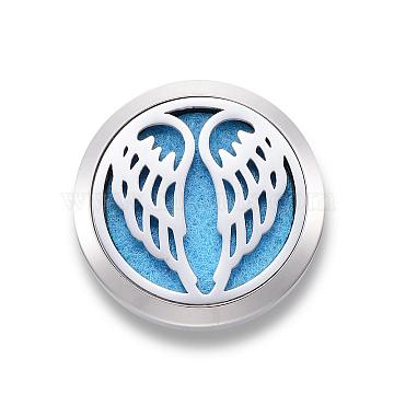 316 Surgical Stainless Steel Car Diffuser Locket Clips, with Perfume Pad and Magnetic Clasps, Flat Round with Wing, Deep Sky Blue, 30x7mm(STAS-H336-07G)