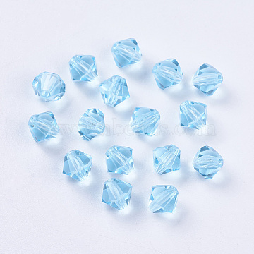 6mm LightSkyBlue Bicone Glass Rhinestone Beads