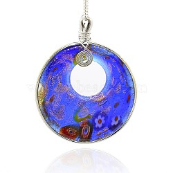 chalumeau à la main grande pendantss, sable d'or et millefiori, avec les résultats en laiton plaqué de platine, Collier plat rond gros pendentifs, bleu royal, 70x55x8 mm, trou: 4x5 mm(PALLOY-J356-03)