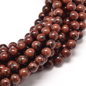 Natural Mahogany Obsidian Round Bead Strands, 6mm, Hole: 1mm; about 63pcs/strand, 15inches(X-G-P072-44-6mm)