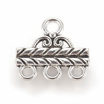Tibetan Style Alloy Chandelier Components Links, 3-Strand Reducer Connector, Rectangle, Antique Silver, 14x13.3x2mm, Hole: 2.1mm and 1.6mm(X-TIBE-ZN62073-AS)