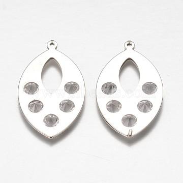 Iron Rhinestone Pendants, Hollow Horse Eye, Platinum, 43x24x5mm, Hole: 1mm(IFIN-K025-04P)
